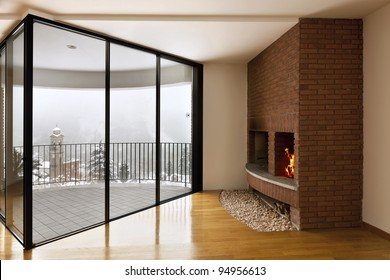 beautiful apartment, interior with hardwood floors, large window and fireplace