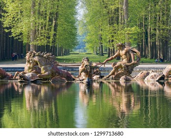 The beautiful Apollo Fountain of Place of Versailles at France