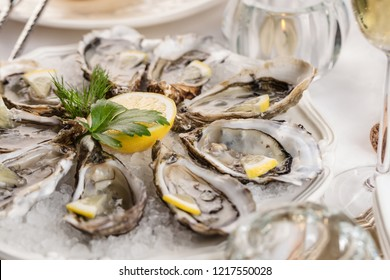 beautiful appetizer oysters two glasses wine champagne