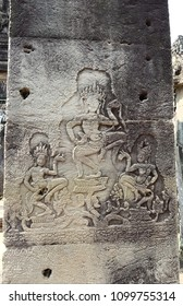 Beautiful Of Apsara Dancing Carved On Pillar In Combodia