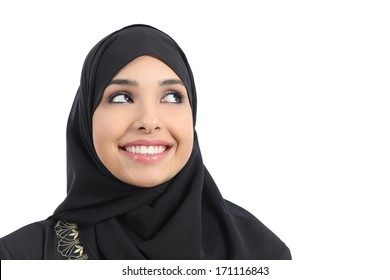 Beautiful arab woman face looking an advertising above isolated on a white background