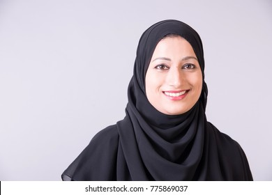 Beautiful Arab woman in Hijab with white background