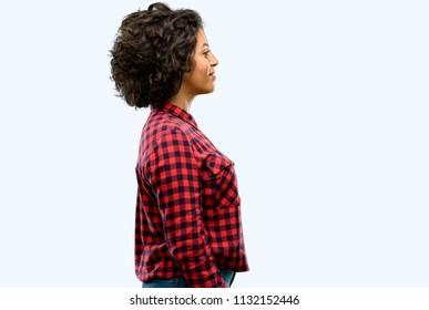 Beautiful arab woman side view portrait