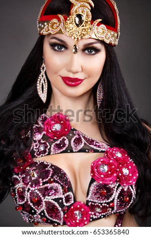 Beautiful Arabian Bellydancer Sexy Woman In Bellydance Colorful Costume Dancing Isolated Sensual Arabic Girl Belly