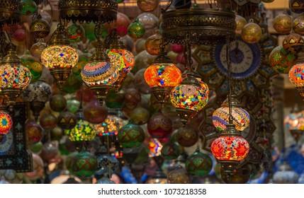 Beautiful Arabian lamps at ancient Mutrah Souq, in Muscat, Oman