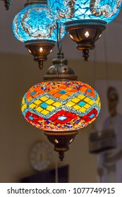 Beautiful Arabian lamps at ancient souk of Nizwa, in Oman