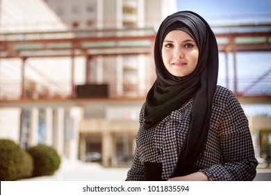 Beautiful Arabian Woman with hijab smiling