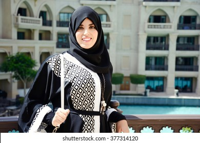 Beautiful Arabian Woman wearing abaya, Fashion arabic style, Hijab.