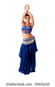 Beautiful Arabic belly dancer harem woman in blue with silver dress and head jewelry with gem dancing arms in air, isolated.