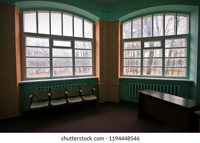 Beautiful arched window on the abandoned mansion