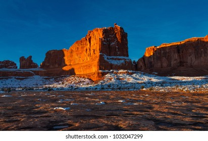 Beautiful Arches National Park at sunrise in the winter in Moab Utah USA.