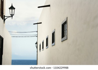 Beautiful architectural glimpse with the ocean in the background in Garachico, Tenerife