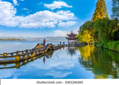 Beautiful architectural landscape and landscape in West Lake, Ha