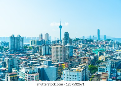 Beautiful architecture building cityscape of macau city skyline