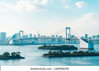 Beautiful architecture building cityscape of tokyo city with rainbow bridge in japan