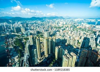 Beautiful architecture building exterior cityscape of hong kong city skyline on blue sky