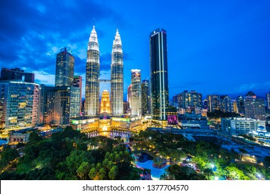 Beautiful architecture building exterior in Kuala Lumpur city in Malaysia for travel at twilight night