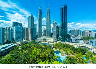 Beautiful architecture building exterior in Kuala Lumpur city in Malaysia for travel