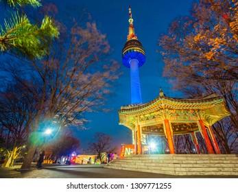 Beautiful architecture building N Seoul tower on namsan mountain landmark of Seoul City in South Korea
