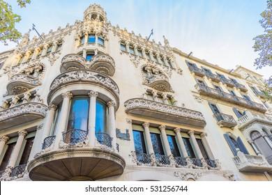 Beautiful architecture facade at famous Passeig de Gracia street (Eixample district) on November 11, 2016 Barcelona, SPAIN