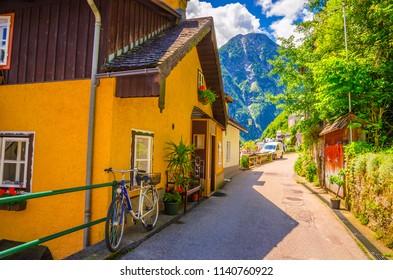 Beautiful architecture of Hallstatt Austrian Alps,  Salzkammergut, Austria, Europe