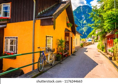 Beautiful architecture of Hallstatt village, Austrian Alps,  Salzkammergut, Austria, Europe