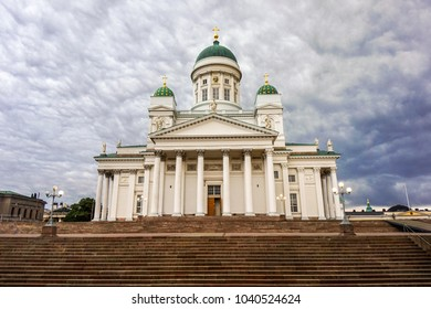 Beautiful Architecture of Helsinki Cathedral in beautiful evening. Helsinki, Finland