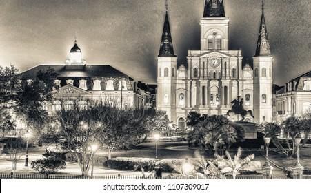 Beautiful architecture of Jackson Square, New Orleans - LA
