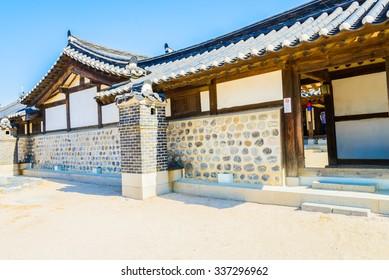 Beautiful Architecture in Namsangol Hanok Village at Seoul Korea