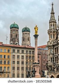 Beautiful architecture on central square Marienplatz in Munich