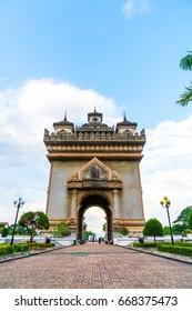 Beautiful architecture at Patuxay Monument in Vientiane, Laos.