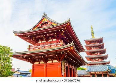Beautiful Architecture in Sensoji Temple around Asakusa area at Japan