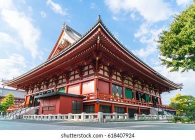 Beautiful Architecture at Sensoji Temple around Asakusa area in Tokyo, Japan