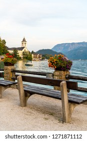 Beautiful Architecture at St. Wolfgang waterfront with Wolfgangsee lake, Austria