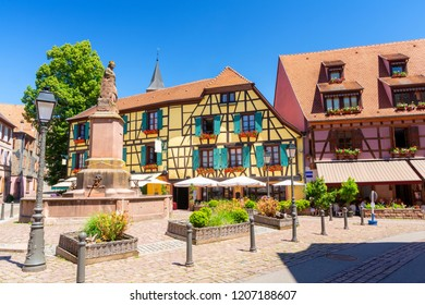 beautiful architecture in Ribeauvillé town, Alsace, France