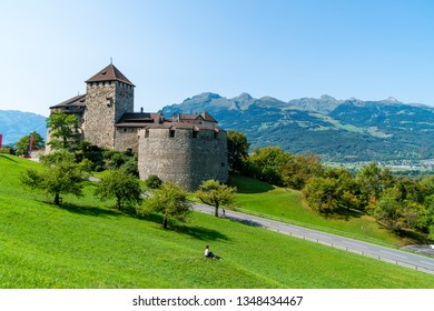 Beautiful Architecture at Vaduz Castle, the official residence of the Prince of Liechtenstein with blue sky