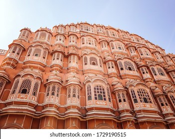 Beautiful architecture view of Hawa Mahal (Palace of winds) in Jaipur, Rajasthan India