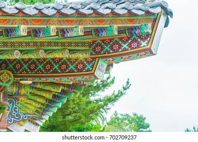 Beautiful architecture at Yakcheonsa Temple in Jeju Island, South Korea