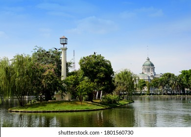Beautiful architecural of the Ananta Samakhom Throne Hall (now closed), view from Dusit zoo (now closed) old stockphoto when 2017