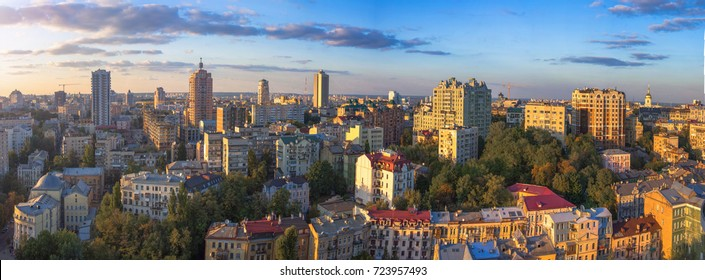 Beautiful area of kiev near the city center at sunset time, aerial photography in Kiev, Ukraine. Cycling track aerial view in Kiev, Ukraine