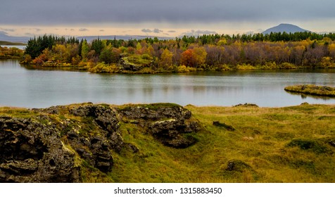 Beautiful area of Lake Myvatn in northern Iceland