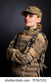 Beautiful army girl isolated on a white