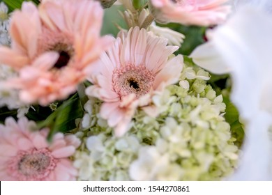 A beautiful arrangement of fresh flowers lily, baby's breath, chrysanthemums, roses and aster flowers as a foreground.