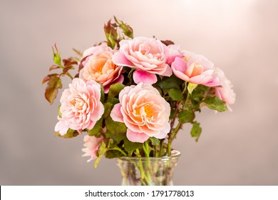 Beautiful Arrangement of Pastel Rose Flowers Bouquet in a Vase