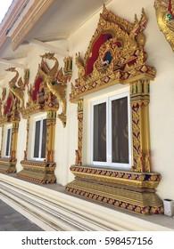 Beautiful art on the window of wat Thai