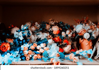Beautiful artificial flowers for decoration.