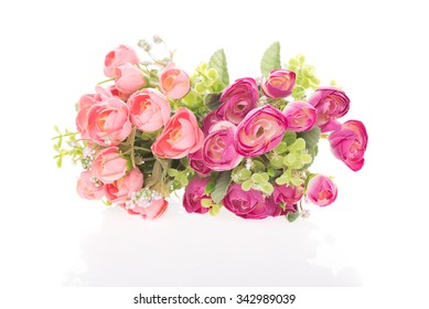 Beautiful artificial red rose bouquet isolated on white background