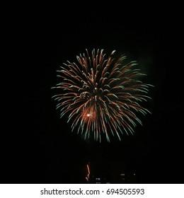 Beautiful artistic fireworks festival in Atami, Izu, Japan.