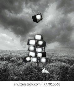 Beautiful artistic surreal image representing a landscape with piled up old televisions and a white rabbit in black and white