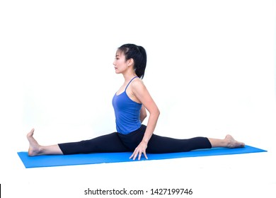 Beautiful Asia girl practicing yoga on isolated white background : Concept practicing
